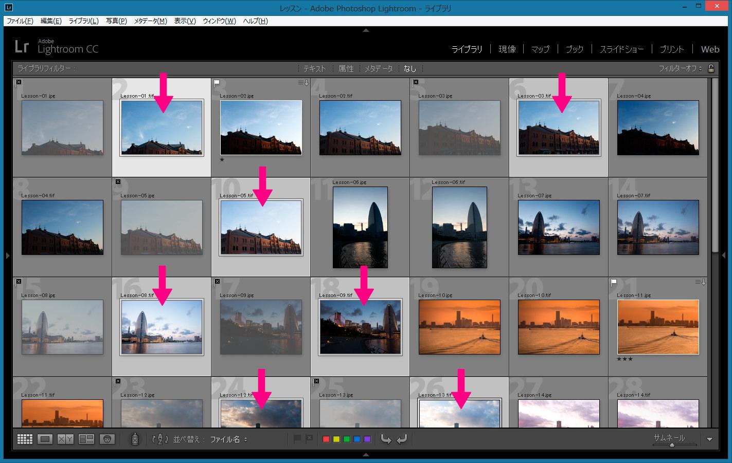 グリッド表示-削除するRAW画像を選択