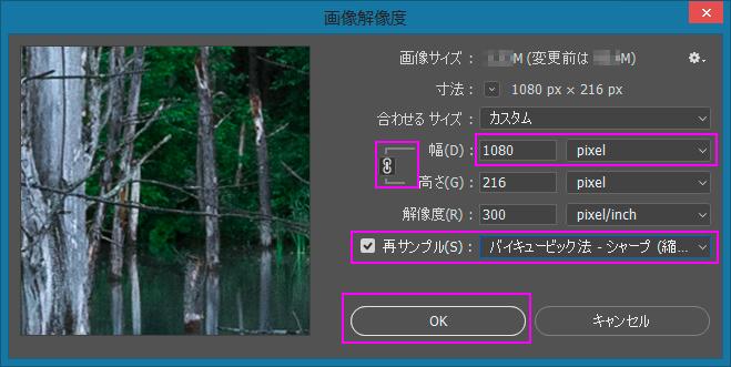 Photoshop画像解像度ダイアログ