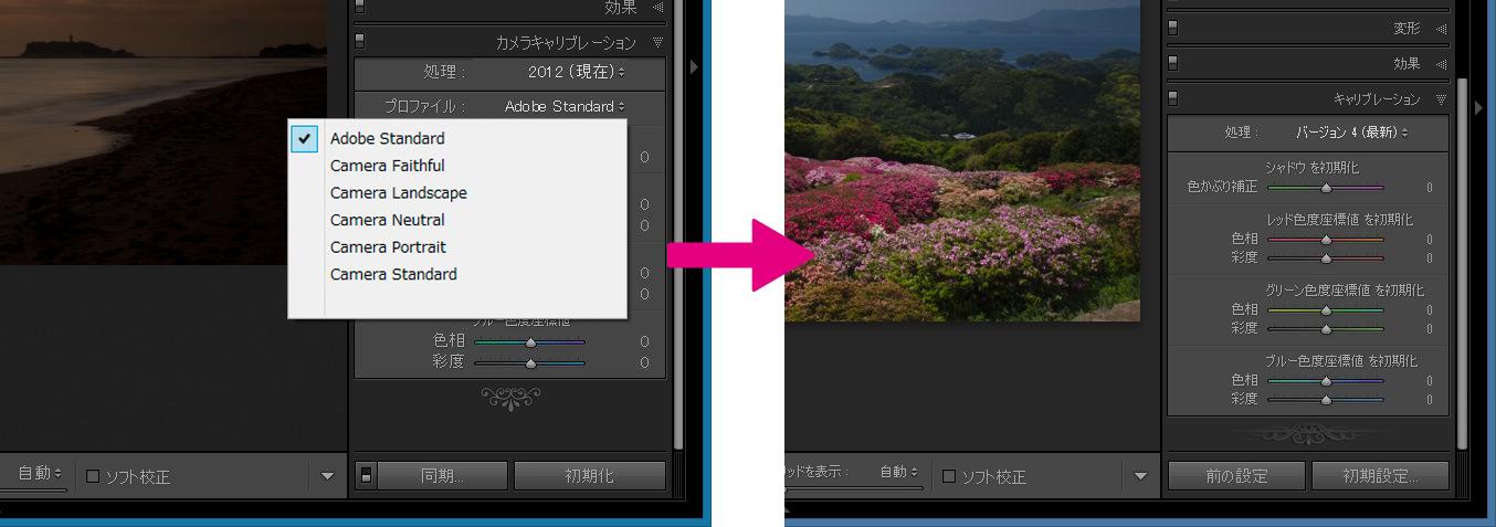 カメラキャリブレーションパネル-アップデート前と後
